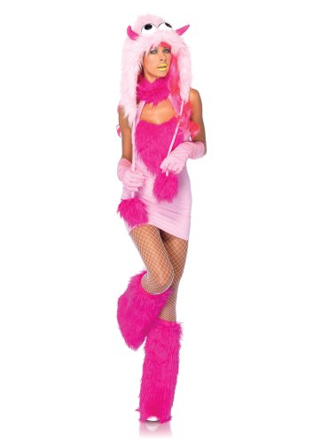 (Leg Avenue Women's 2 Piece Pink Puff Monster Costume, Pink,)