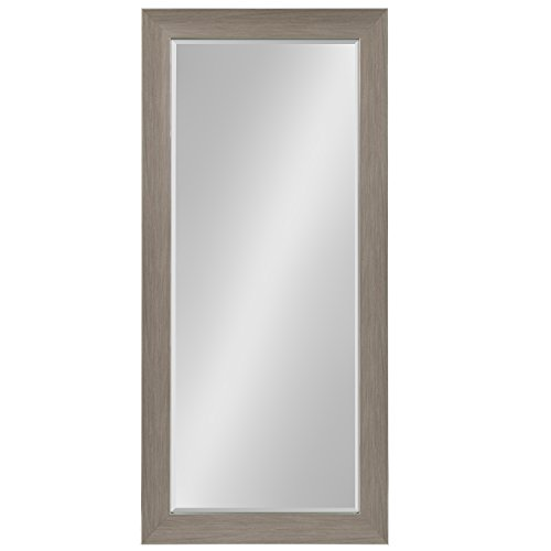 Kate and Laurel Tahoe Extra Large Beveled Wall Mirror Full Length Floor Leaner, 30.5 x 66.5, Gray/Silver