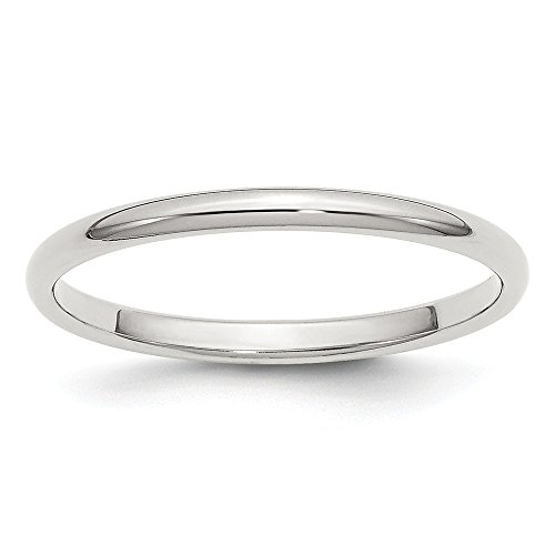 (JewelrySuperMart Collection Sterling Silver 2mm Plain Half-Round Classic Wedding Band - Size)