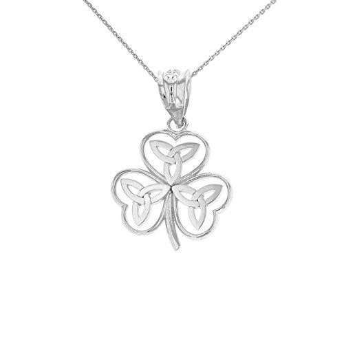 (925 Sterling Silver Irish Shamrock Pendant Necklace with Celtic Trinity Knot (20