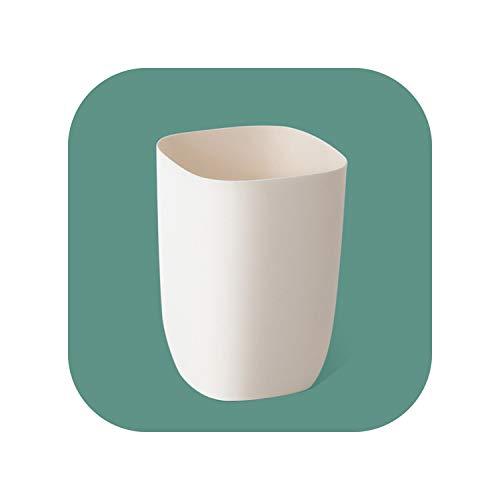 (Round Shape PP Wastebasket Without Lid Trash Bin Paper Basket Garbage Trash Can Dustbin Holder Large Capacity,Apricot)
