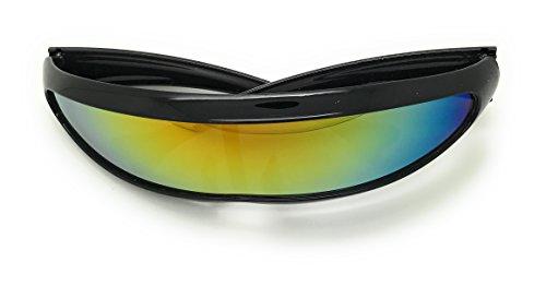 MyUV Futuristic Narrow Cyclops Revo Color Mirrored Lens Visor Sunglasses (Black Fire, - Visor Cyclops
