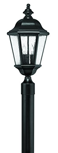 Hinkley 1671BK Traditional Three Light Post Top/ Pier Mount from Edgewater collection in Blackfinish,