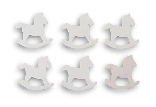 nted Wood Cutout - Rocking Horse - Set of 6 (Natural Wood Rocking Horse)