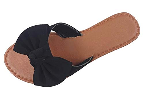 Slip On Sandal Slide Flat with Knot Bow, Black, 7