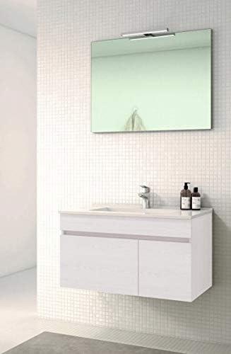 Modelo SOKI 80 cms, Hera VAROBATH Conjunto de Mueble de ba/ño suspendido de 1 Cajon y 2 Puertas con Lavabo de Ceramica y Espejo Liso