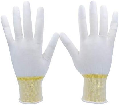 手袋 日常 実用 白い編まれた綿の手袋PUの指先の軽い産業コーティングの仕事の手袋、10組 (Color : Yellow 12 Pairs, Size : L)