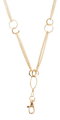 Elizabeth Oblong Link Double Chain Lanyard Necklace (gold) ()