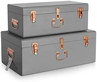 Ramton Metal Suitcase Storage Box Set Of 2 Grey Metal Trunk Vintage Treasure Chest Luggage Gift Stackable Lockable Copper Handles Latches Amazon Co Uk Kitchen Home