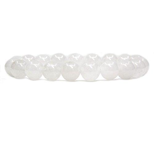 Amandastone Natural White Jade Genuine Semi-Precious Gemstones Healing 10mm Beaded Stretch Bracelet 7