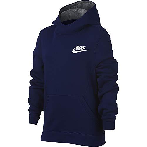 (NIKE Sportswear Boys' Club Pullover Hoodie, Blue Void/Carbon Heather/White, Medium)
