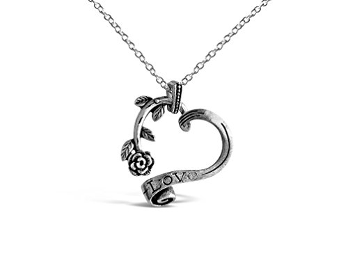 """Rosa Vila Vintage Rose Heart Necklace, Romantic Rose Gift For Women, Beauty and the Beast Rose Jewelry, Gardeners Necklace, 17"""" Chain (Silver Tone) (Rose Vintage Florist)"""
