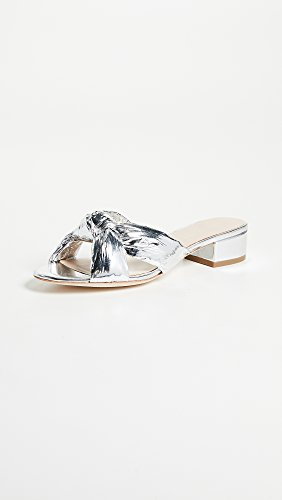 Women's Loeffler Heeled Sandal Elsie Metallic Leather Silver Foiled Randall BPwqA4x6P