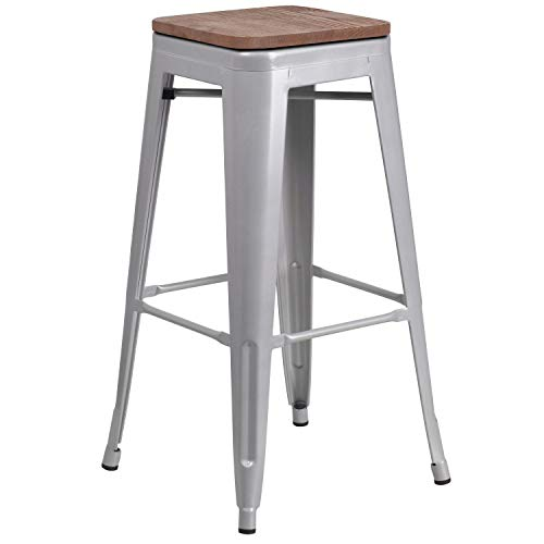 Taylor Logan 30 High Backless Silver Metal Barstool with Square Wood Seat