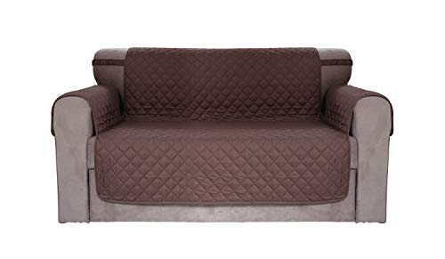 Contemporary Seater Two - Chiara Rose Reversible Water Resistant Loveseat Slipcover 2 Cushion Sofa Couch Cover Quilted Furniture Protector Brown