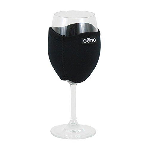 Oenophilia Vino Hug Neoprene Wine Glass Sleeve, Black