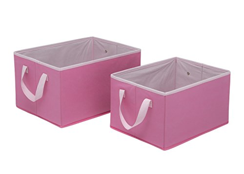 Hot Childrens Clothing (Delta Children Foldable Rectangle Storage Bins - Set of 2, Hot Pink with White)