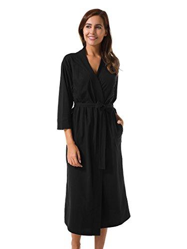SIORO Cotton Robes Soft Kimono Robe Long Knit Bathrobe Nightwear Lightweight Loungewear Nightdress V-Neck Sexy Sleepwear for Women, Black, M (Kimono Jersey)