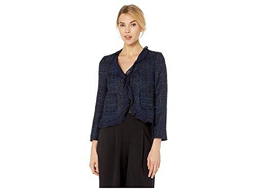 Vince Camuto Womens Long Sleeve Indigo Tweed Ruffle Trim Blazer Classic Navy 10