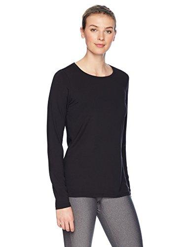 Black Stretch Shirt - Amazon Essentials Women's Tech Stretch Long-Sleeve T-Shirt, Black, Medium