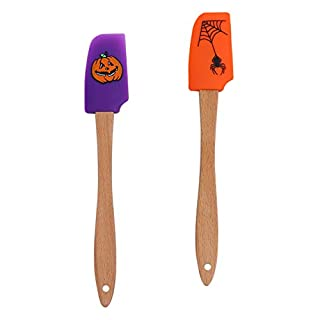 Hemoton Silicone Scraper Funny Wooden Handle Interesting Halloween Baking Supplies Cream Spatula Baking Gadget for Inside Indoor