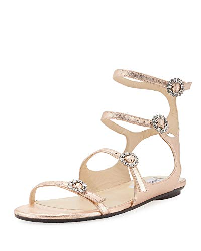 JIMMY CHOO Naia Metalic Flat Sandal With Crystal Buckles Rose Gold