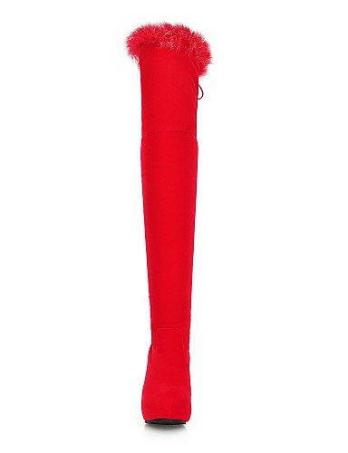 XZZ  Damenschuhe - - - Stiefel - Kleid   Lässig - Vlies - Keilabsatz - Wedges   Plateau   Rundeschuh   Modische Stiefel - Schwarz   Rot B01L1GTZKC Sport- & Outdoorschuhe Das hochwertigste Material 591df1