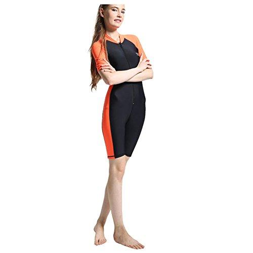 Summer Short Sleeve Swimwear One Piece Swimsuit For Women (Orange) - 7