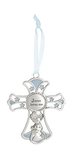 Ganz 4'' Ornate Baby Crib Cross Decor with Ribbon for Hanging (Jesus Loves Me - Blue) ()