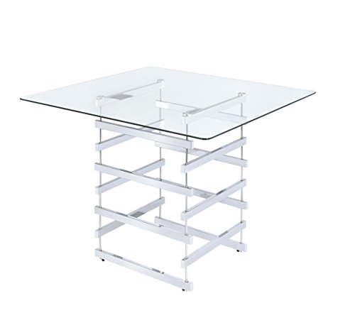 ACME Furniture AC-72590 Dining Table, One Size, Chrome & Clear Glass