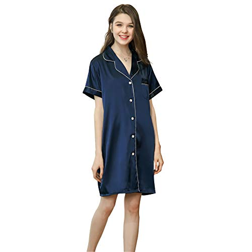 Belle Heure Women Pajamas Top Sleepshirt Silk Satin Nightshirt Button Down XS-L Blue