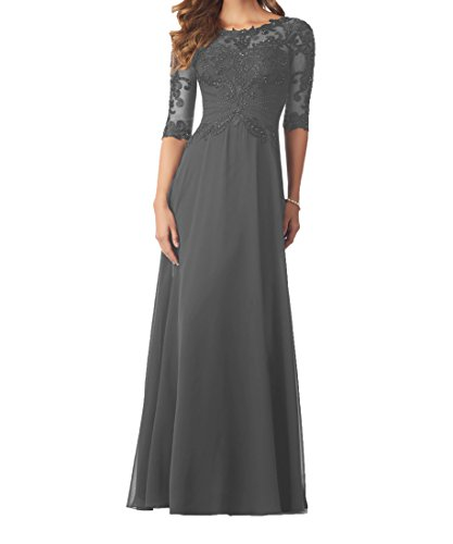 Graceprom Women's 3/4 Sleeves Evening Dresses Lace Appliques Beaded Mother of The Bride Dresses 12