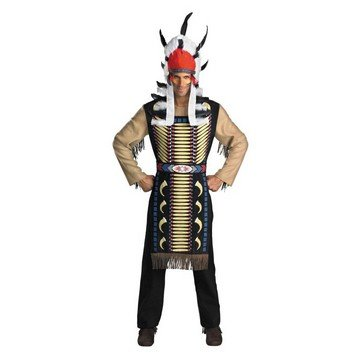 [Native American Indian Warrior Chief Adult Costume Size 42-46 Standard] (Male Indian Chief Costume)