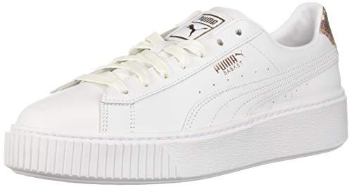 - PUMA Women's Basket Platform Sneaker, White-Rose Gold, 10 M US