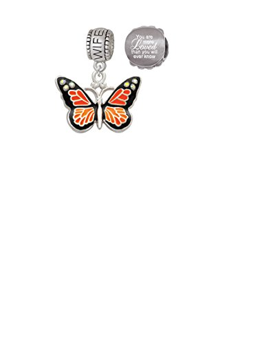 Monarch Butterfly Bead (Large Monarch Butterfly with 6 AB Crystals Wife Charm Bead with You Are More Loved Bead (Set of 2))