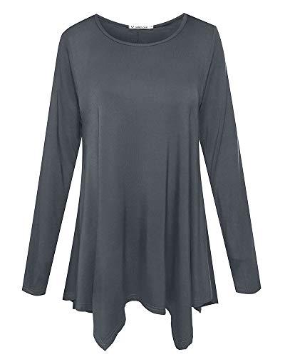 JollieLovin Womens Long Sleeve Tunic Top Loose Plus Size T Shirt (Deep Gray L) - Premium Womens Tees