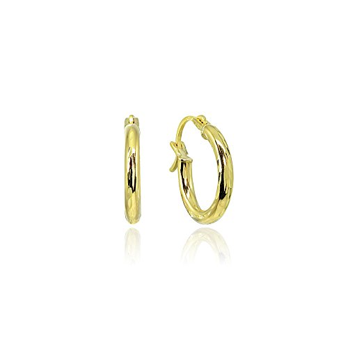 14K Gold High Polished Tiny 12mm Diamond-Cut Round Hoop Earrings