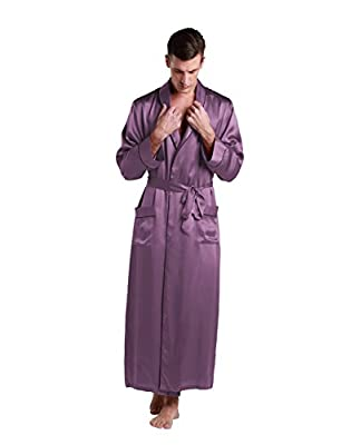 LilySilk Mens Pure Silk Robe 22 Momme Bath Robes Luxury Contra Full Length 100 Natural Pure Silk