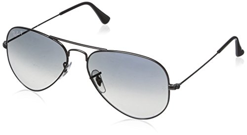 (Ray-Ban AVIATOR LARGE METAL - GUNMETAL Frame CRYSTAL POLAR BLUE GRAD.GREY Lenses 55mm Polarized)