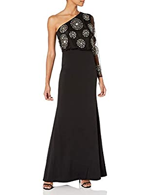Adrianna Papell Women's Bead Crepe Long Dress