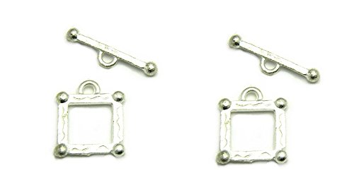 Beautiful 6 sets Designed Square Toggle Clasps USA Made for Jewelry Making TVT-1295 (Matte Silver) ()