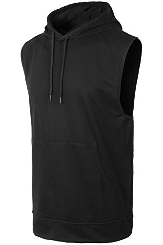 (JC DISTRO Mens Hipster Hip Hop Active Lightweight Sleeveless Black Hoodie Medium)