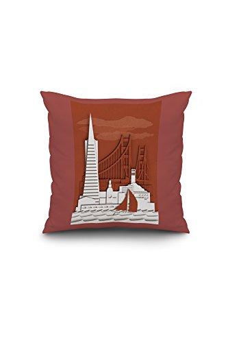 San Francisco, California - Shadow Box (16x16 Spun Polyester Pillow, Custom Border) (Shadow Box Pottery Barn)