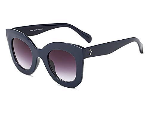 Butterfly Sunglasses Semi Cat Eye Glasses Plastic Frame Clear Gradient Lenses (Navy Blue, 45MM)
