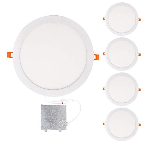 (OSTWIN 12 inch 24W (120 Watt Repl.) IC Rated LED Recessed Low Profile Slim Round Panel Light with Junction Box, Dimmable, 4000K Bright Light 1800 Lm. No Can Needed, 4)