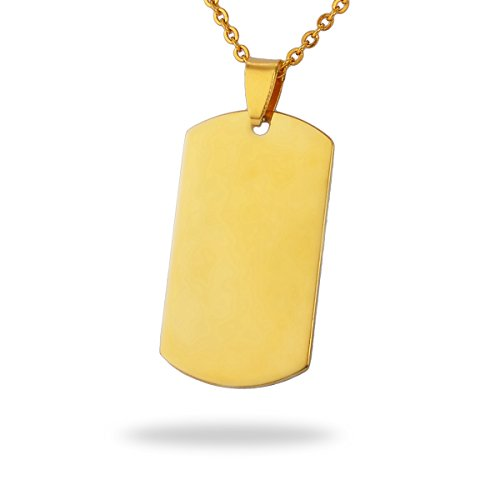 HooAMI Gold Plated Stainless Steel Blank Stamping Tags Rectangle Charm Pendants (Art Rectangle Charm Gold Plated)