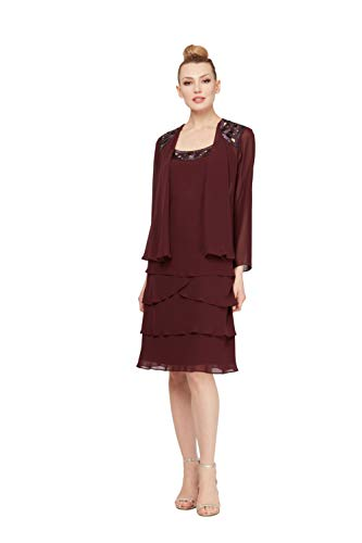 Embellished Dresses Clearance (S.L. Fashions Women's Embellished Tiered Jacket Dress (Petite and Regular), Fig,)