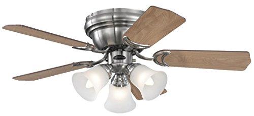 72073 Ventilatore da soffitto in nichel spazzolato per interni da 90 cm Contempra Trio, kit di luce con vetro smerigliato