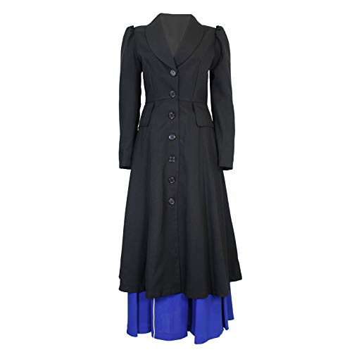Women's English Nanny Poppins Costume Coat Black (Large)