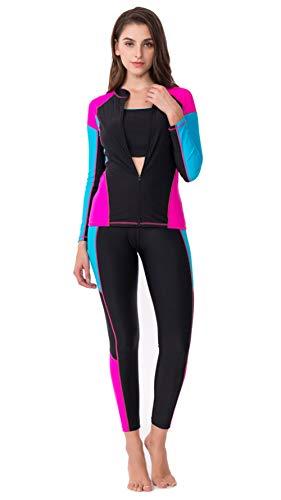 A Solare xxxl Donna Costume Da Muta Pezzi Black Bagno Max Split U Surf Protezione Sportiva Tuta Beauty blue Quattro wXC47Aq